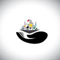 Vector icon concept of buying house home property this graphic woman s hand with building can also represent purchasing assets Stock Image