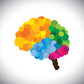 Vector icon of creative brilliant colorful painted brain this graphic people s mind also represents problem solving ingenuity Royalty Free Stock Photo