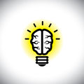 Vector icon of creative inventive brain as idea light bulb this people s mind graphic also represents solving problems finding Stock Image
