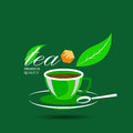 Vector icon of green tea cup and sugar Royalty Free Stock Photo