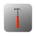 Vector icon hammer with orange handle.