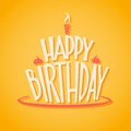Vector icon happy birthday with lettering on yellow background Stock Photo