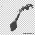 Vector icon map of Norway on transparent background Royalty Free Stock Photo