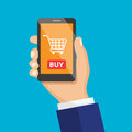 Vector icon of mobile phone in hand.  Shopping button, flat desi Royalty Free Stock Photo