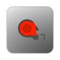 Vector icon orange tape measure.