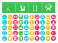 Vector Icon Pack Travel and Transportation Flat in Colorful Circles