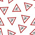Vector icon road sign cyclist in red triangle. Sign caution cyclist seamless pattern on a white background