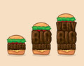 Vector icon set burgers small, big and very big. Traditional burger