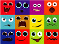 Vector icon set - cartoon face, happy, scared, screaming, happy, smile, grin, laughing Royalty Free Stock Photo