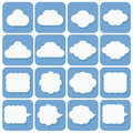 Vector icon set collection of cloud icons white on blue backgr background with dark shadows Royalty Free Stock Photography