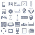 Vector icon set of computer media gadgets and devices isolated collection on white background Stock Image