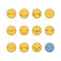 Vector icon set of emoticons.