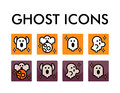 Vector icon set with ghosts characters. Halloween illustration. Cartoon flat style. Royalty Free Stock Photo