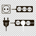 Vector icon set of sockets and plugs. An extension cord with the