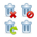 Vector icon set of trash bins Stock Photo