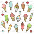 Vector icon set of yummy colored ice cream Royalty Free Stock Photo