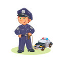 Vector icon of small child policeman and his machine on a string.