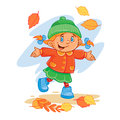 Vector icon of small child throws up the fallen leaves