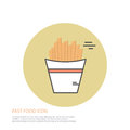Vector icon style illustration of fast food, french fries on colored round background.