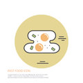 Vector icon style illustration of fast food, fried egg on colored round background.