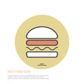 Vector icon style illustration of fast food, hamburger on colored round background.