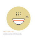 Vector icon style illustration of fast food, a plate of soup on colored round background.