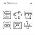 Vector Icon Style Illustration of Mail, letter box, letter. Royalty Free Stock Photo