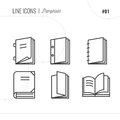 Vector Icon Style Illustration of Pamphlets, Catalogs, Books, Is