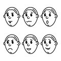 Vector icons of cartoon smiley faces Royalty Free Stock Photo