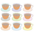 Vector icons of cups of tea in a simplified style set multi colored glass on white background Stock Photos