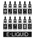 Vector icons of e liquid illustration different flavor to vape the taste the electronic cigarette Stock Images