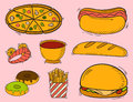Vector icons fast food hand drawn restaurant breakfast hamburger design kitchen unhealthy dessert