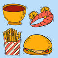 Vector icons fast food hand drawn restaurant breakfast hamburger design kitchen unhealthy meal