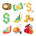 Vector icons of finance money collection Royalty Free Stock Photo