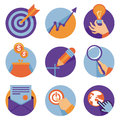 Vector icons in flat retro style business and development illustrations Stock Photos