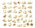 Vector icons of fluffy macro popcorn in a realistic style
