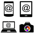Vector icons illustration of electronics laptop camera phone Royalty Free Stock Photography