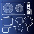 stock image of  Vector icons induction cooktops and kitchen utensils