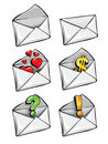 Vector icons mail envelope collection Stock Photos