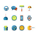 Vector icons for mobile app interface: chat security clock wheel Royalty Free Stock Photo