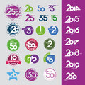 Vector icons with numbers dates anniversaries collection of Royalty Free Stock Photos