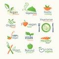 Vector icons of organic natural food, vegan and vegatarian signs Royalty Free Stock Photo