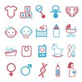 Vector icons set for creating infographics related to childbirth and newborn babies like pacifier, diaper, baby phone, crib, bib o