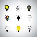Vector icons set of different idea light bulbs concept kinds this graphic can also represent genius cleverness providing solution Royalty Free Stock Photos