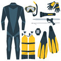 Vector icons set of diving equipment Royalty Free Stock Photo