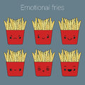 Vector icons set of emotional fries