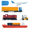 Vector icons set freight transportation logistics Royalty Free Stock Photo