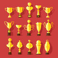 Vector icons set of golden sport award cups in modern flat style Royalty Free Stock Photos
