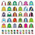Vector icons set - horse racing jockey uniform designs isolated on white Royalty Free Stock Photo