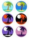 Vector icons set palm tree emblems